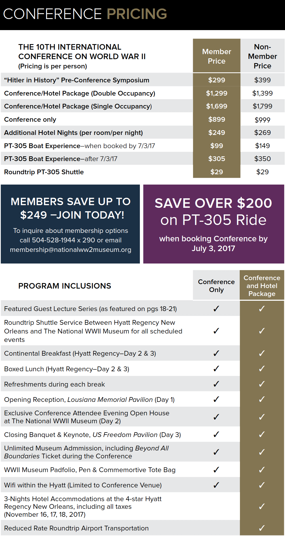 2017 International Conference Pricing